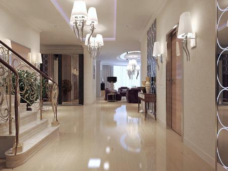 abatjour: Hallway Art Deco style. 3d render
