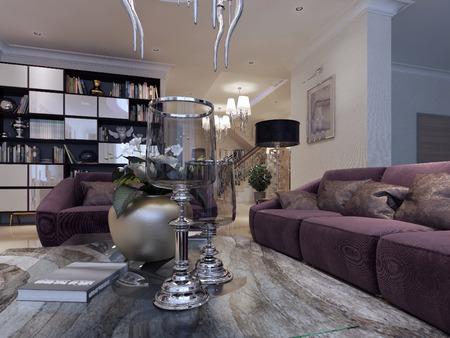 abatjour: Living in a luxury modern style. 3d render