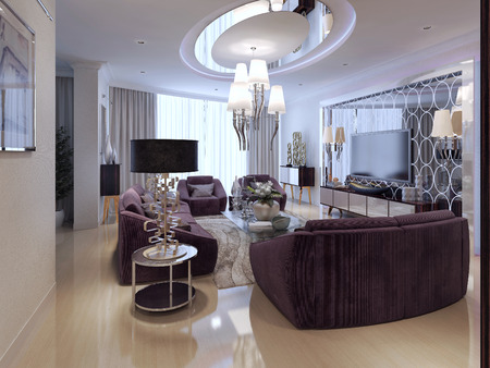 luxury living room: Living in Art Deco style. 3d render