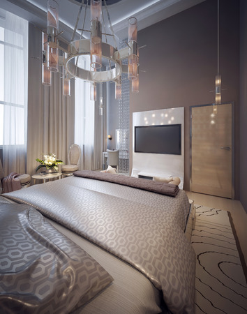 nightstands: Luxury bedroom art deco style. 3d render