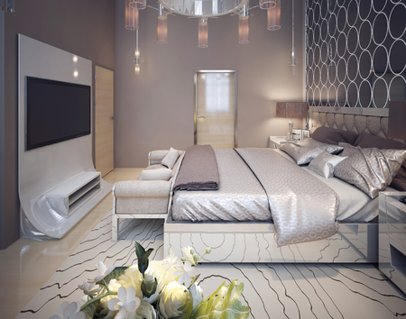 vase plaster: Bedroom in modern style. 3d render