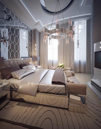 nightstands: Luxury bedroom art deco style. 3d render