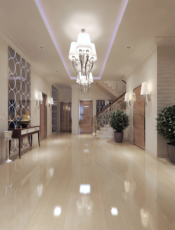 lampshades: Hall neoclassical style. 3d render