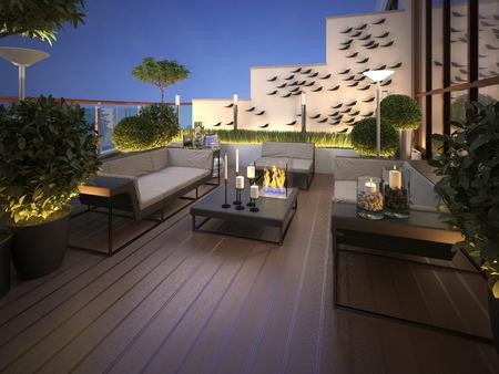 nacht: Dach - Terrasse in einem modernen Stil. 3D-Darstellung Lizenzfreie Bilder