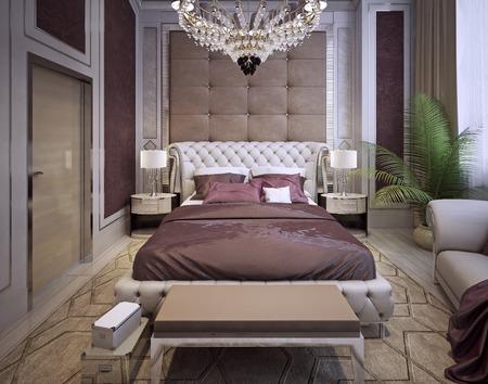 nightstands: Bedroom in classic style. 3d render Stock Photo
