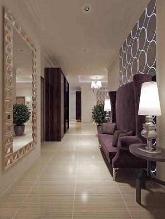 abatjour: Hallway Art Nouveau style. 3d render