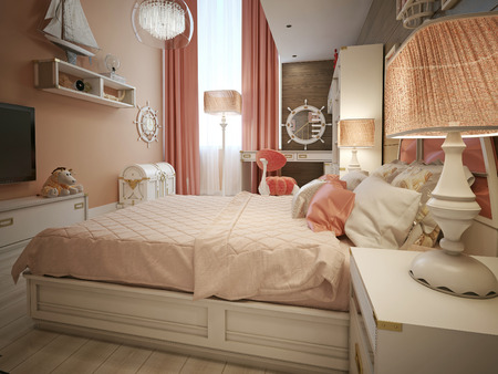 fluffy: Childrens bedroom in classic style. 3d render Stock Photo