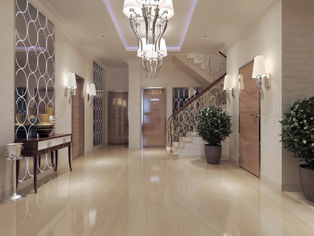 lampshades: Hallway Art Deco style. 3d render