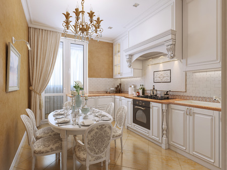 pilasters: Kitchen in classical style with a dining table. The white and orange tones. 3D render. Stock Photo