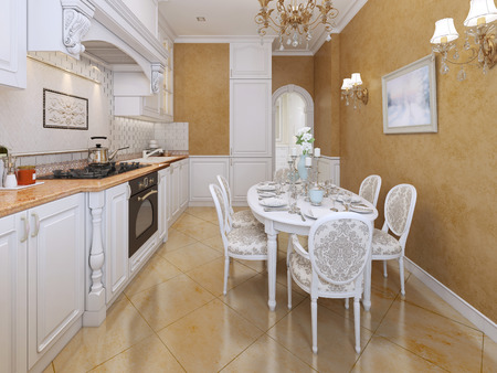 pilasters: Kitchen classic style. 3d visualization