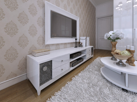 living unit: TV unit with a TV on the wall in a white frame. Modern and Art Deco style. 3D render.