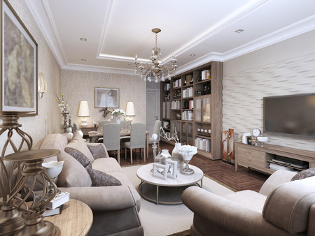 living style: Living classic style. 3d render