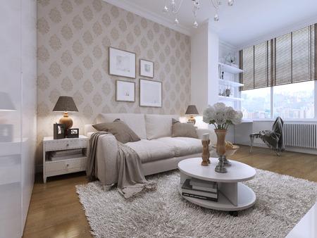 Habitación con unos lindos y cómodos sofás en el estilo art deco. Dos mesas de noche con las luces. Bajo stlik con la decoración. 3D render.