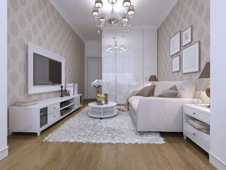 family units: Guest room in a modern style with classical wallpaper. The white and beige. 3D render.