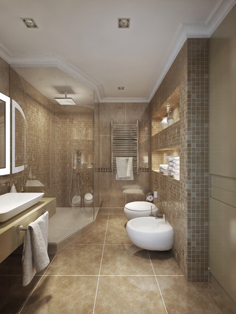 interior lighting: classical style bathroom. 3d visualization