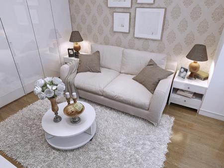 #47410327   Das Leben In Einer Modernen Art Deco Stil, Mit Einem Beige  Sofa, Zwei Nachttischen Und Einem Couchtisch. 3D Rendnr.