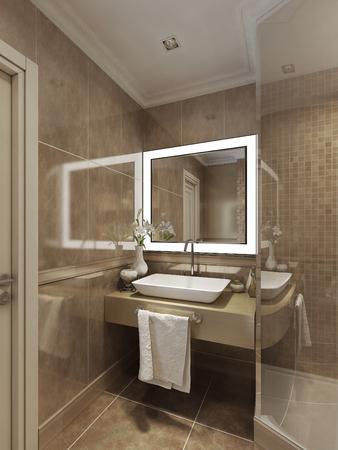 shower stall: modern style bathroom. 3d visualization Stock Photo
