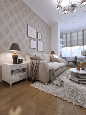 family units: guest room modern style. 3d visualization
