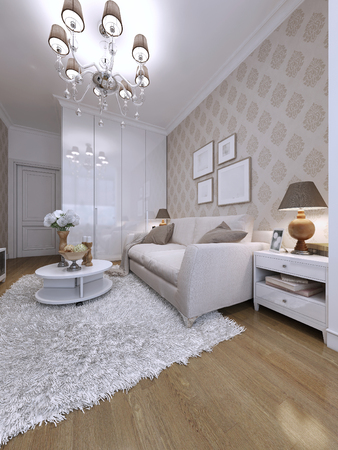 guest room: guest room modern style. 3d visualization