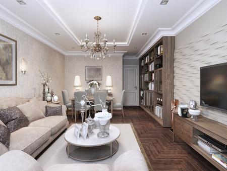 comfort room: Living classic style. 3d render