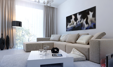 Modern interior living room, 3d images