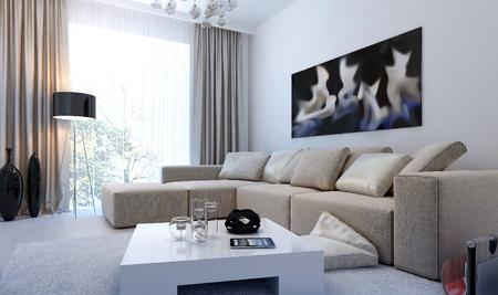 cortinas: sala de estar entre moderna, las imágenes en 3D