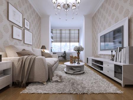 아트 데코 스타일의 객실. 흰색 프레임에 TV와 미디어 시스템으로. 그리고 큰 창. 3Drender. 스톡 콘텐츠
