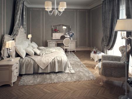 classic interior: Classic bedroom interior. 3d images
