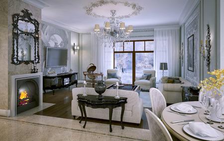 nightstand: Luxury living room. 3d interior Stock Photo