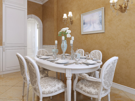 dining table and chairs: White dining table with six chairs in a classic style. Picture of Orange stolomyu walls Venetian plaster. 3D render.