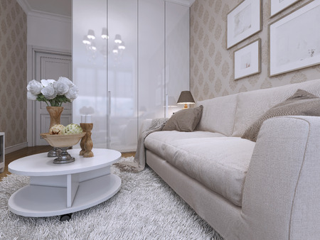 media room: Sofa and coffee table in the guest room, modern style. White, gray and beige. 3D render.