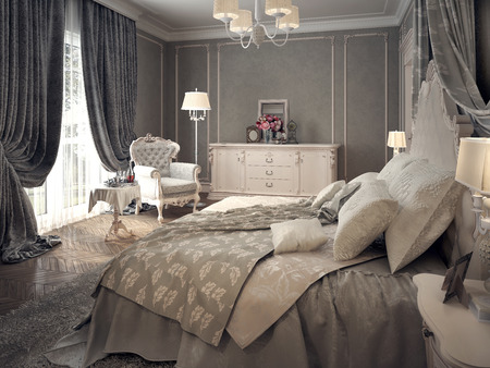 curtain: Classic bedroom interior. 3d images