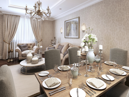 dining: Dining classic style. 3d render