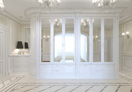 pilasters: The entrance hall with a large white wardrobe with mirror and a chest of drawers for shoes, art nouveau. 3D render. Stock Photo