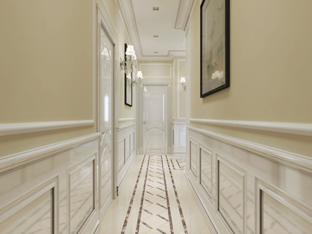 yellow walls: Corridor in classic style with white wood paneling on the walls. In white, beige and yellow. 3D render.