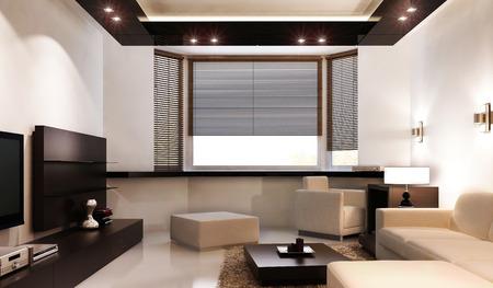 blinds: Interior of modern living room, 3d render