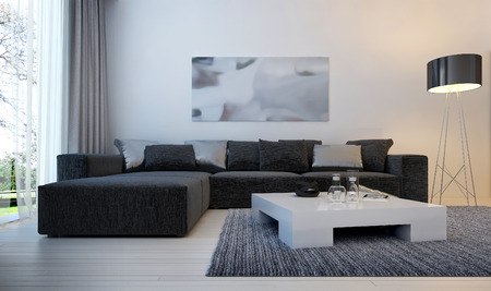 family in living room: Modern interior living room, 3d images