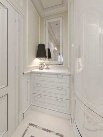 wood molding: The bright entrance hall with a white chest of drawers in a classic style. 3D render.