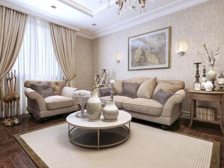 living style: Living room Art Deco. 3d render Stock Photo