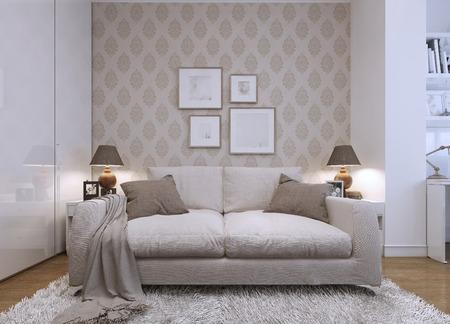 style: Divano beige in soggiorno in uno stile moderno. Carta da parati sulle pareti con un modello. Le opere d'arte sul muro. Rendering 3D.