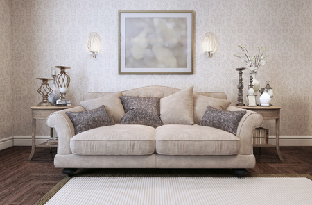 interior wallpaper: Sofa in classic style. 3d render
