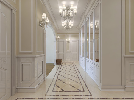pilasters: A long corridor with a wardrobe with mirrors in a classic style. The white and beige. 3D render. Stock Photo