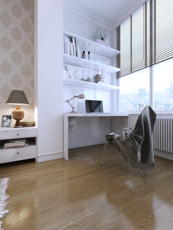 room wallpaper: Working area with a desk and shelves in a modern style. In white. 3D render.