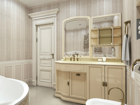 art design: Bathroom neoclassical style. 3d images Stock Photo