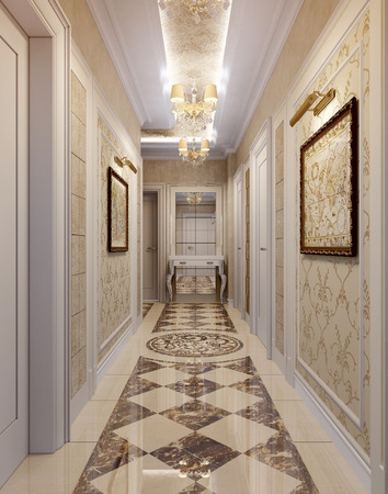 marble wall: Hall Baroque style, 3d images Stock Photo