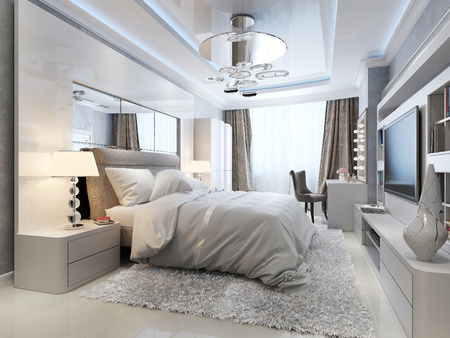 3d bedroom: Bedroom art deco style, 3d picture