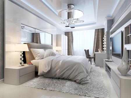 espejo: Dormitorio estilo art deco, imagen 3d
