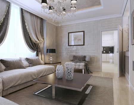 living style: Living room art deco and classic style. 3d image Stock Photo