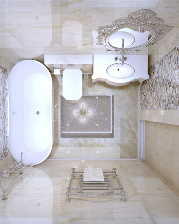heated: Luxury bathroom classic style, 3d images