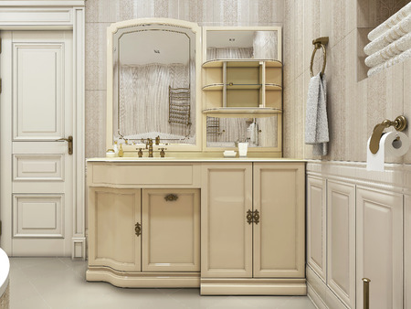 neoclassic: Bathroom classic style, 3d images Stock Photo